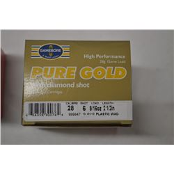 25 ROUNDS OURE GOLD 28 CAL 6 SHOT