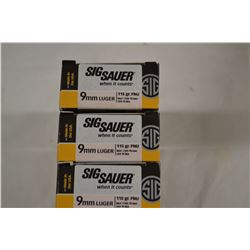 150 ROUNDS SIG SAUER 9MM LUGER 115 GRAIN