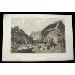 c1850 Steel Engraving, Barnyard Animals