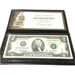 Authentic Uncirculated U.S. Two Dollar Note