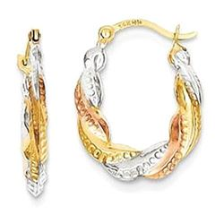 14kt Gold Textured Hollow Hoop Earrings