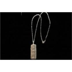Ornate English Sterling Silver Ingot Necklace