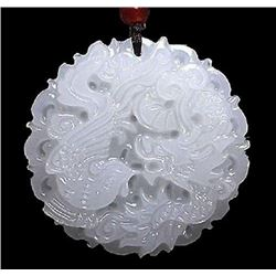 Chinese Carved Dragon Phoenix Medallion Pendant