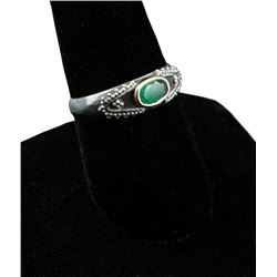 Emerald & Sterling Silver Ring