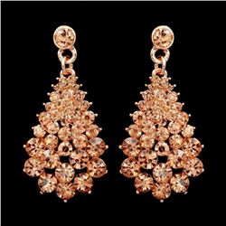 ROSE GOLD Plated Peach Crystal Rhinestone Wedding Drop Dangle Earrings