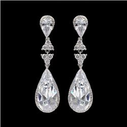 18K White Gold Plated Cubic Zirconia CZ Wedding Bridal Drop Dangle Earrings