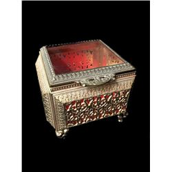 Vintage Ornate Pierced Brass Jewel Casket