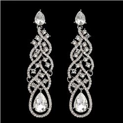 Rhodium Plated Clear Crystal Rhinestone Wedding Drop Dangle Earrings