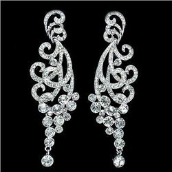 Rhodium Plated Clear Crystal Rhinestone Spindrift Bridal Chandelier Earrings