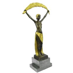 Signed~Chiparus~ Gold Patina Gilt Shawl Dancer Bronze Sculpture Marble