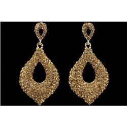 18K Gold Plated GP Golden Crystal Rhinestone Drop Chandelier Dangle Earrings
