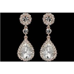 ROSE GOLD Plated Clear Crystal Rhinestone Wedding Drop Dangle Earrings