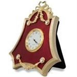 "4"" Faberge Red Enameled Guilloche Russian Antique Style Clock"