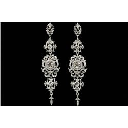 Rhodium Plated Clear Crystal Rhinestone Chandelier Drop Dangle Earrings