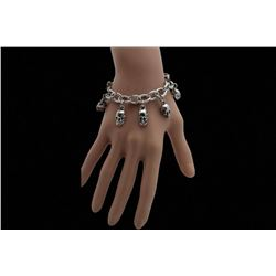 Silver Bracelet Fashion Jewelry Dangle Skull Charm Skeleton