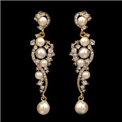 18K Gold Plated GP Clear Crystal Pearl Wedding Bridal Drop Dangle Earrings