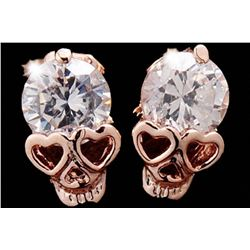 Women's Luxury Gold Skull Clear Cubic Zirconia Alloy Earrings Stud Macabre