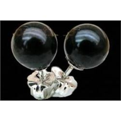 Elegant 6.5mm Aaa+++ Perfect Round Black Akoya Pearls Earring 925 Silver