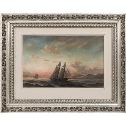 Mid-19thc Signed American School, Sunset Sailing Vessel Pastel Painting
