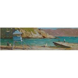 Original art oil painting Seascape Sunny Beach by Anna Gusarova