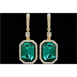 18K Gold Plated Emerald Green Crystal Rhinestone Wedding Drop Dangle Earrings