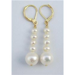 Gorgeous Perfect White Australia South Sea Pearl Dangle Earring 14k Gold