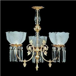 "3 Light Brass and Crystal Victorian Chandelier - 25"" x 23"""
