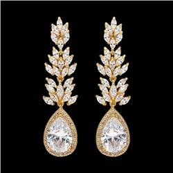 18K Gold Plated GP Cubic Zirconia CZ Wedding Bridal Drop Dangle Earrings