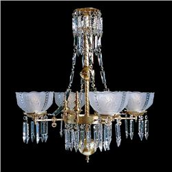 "Whitaker 4B - 4 Light Brass and Crystal Victorian Chandelier - 28"" x 31"""