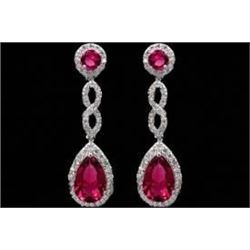 18K White Gold Plated Red Cubic Zirconia CZ Wedding Drop Dangle Earrings