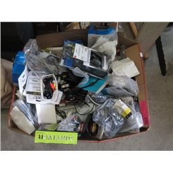 Large Box of Cables & Other Assorted Electronics