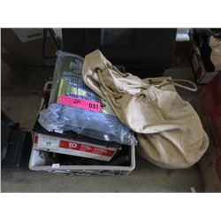 Bin of Tools, Battery Charger & Bag of Rope