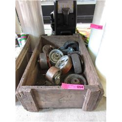 Old Wooden Crate With Metal Wheels