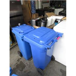 2 Schaefer Rolling Recycle Bins