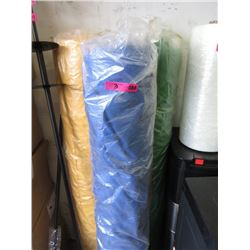 3 Rolls of Fabric - Blue, Green & Yellow
