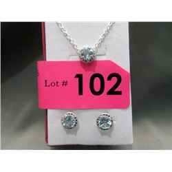 New Blue Topaz & Diamond Necklace & Earring Set
