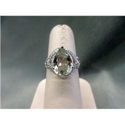 Huge 4 CT Green Amethyst & Diamond Ring