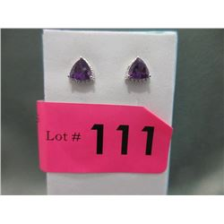 New Amethyst & Diamond Stud Earrings