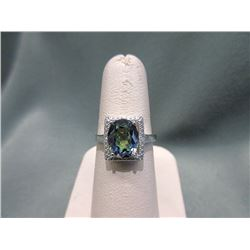 Large 3.5 CT Mystic Topaz & Diamond Ring