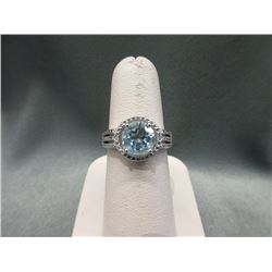 Huge 3 CT Blue Topaz & Diamond Ring