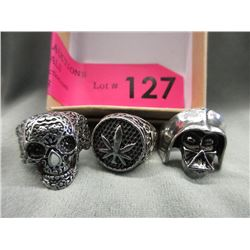 3 Assorted Mans Skull Biker Rings