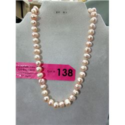 Hand Tied/Knotted Genuine Pink Pearl Necklace