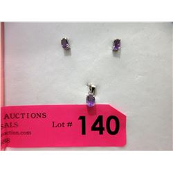 New Matching Amethyst Pendant & Earrings
