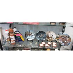 Shelf Lot of Collector Plates, Decanters & More