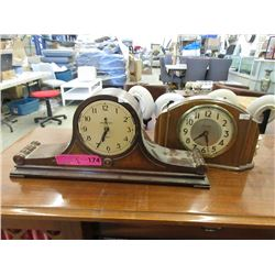 2 Vintage Mantle Clocks - One Has No Glass