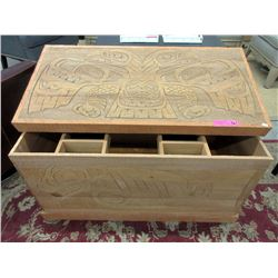 Large First Nations Carved Wood Blanket Chest