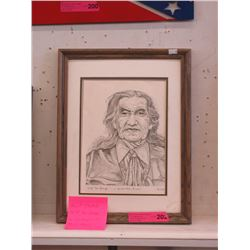 Signed Marie Stoney Chief Dan George Pencil Sketch