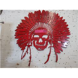 Sheet Metal Indian Skull Wall Plaque