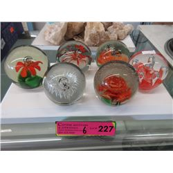 6 Art Glass Paper Weights