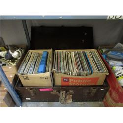 Vintage Footlocker with LP Records
